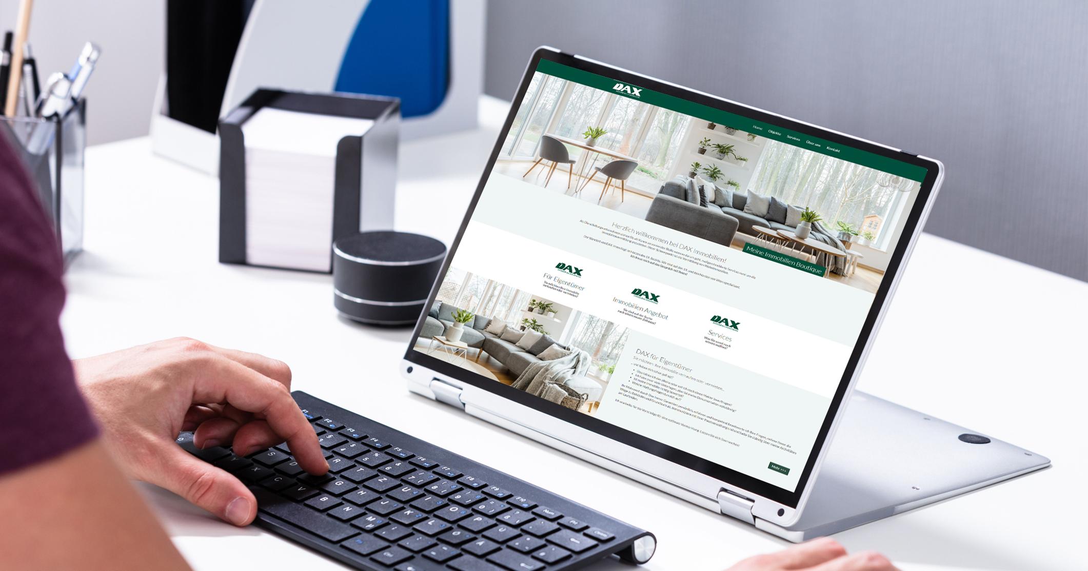 Internetsuche nach Immobilien auf DAX Immo Website